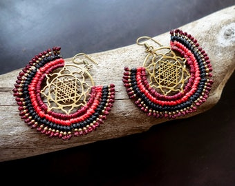 Sri Yantra Macrame Brass Earrings | Red, Black Sacred Geometry | Bohemian Chic