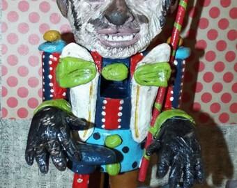 Custom Circus Carnival Monkey Nutcracker Nut Cracker Folk Art Whimsical Sculpture Art Doll