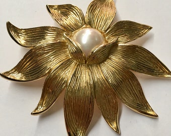 XL floral gold and pearl Vintage Givenchy brooch