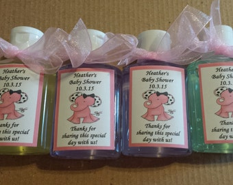 Great Pink Elephant Baby Shower Hand Sanitizers **Adorable****ANY Design** FAST  Service! Set Of 10 Per Order.