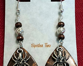 Scary SPIDER Charm on Guitar Pick Beaded Earrings - Handmade in USA