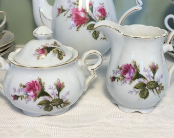 Royal Sealy Creamer and Sugar Bowl with Lid ~ Moss Rose Pattern