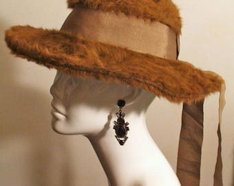 Antique Hat Edwardian Brown Plush Fur Felt Hat Wide Brim Museum De-accessioned