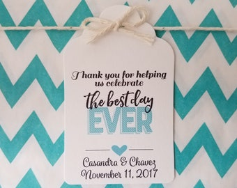 Wedding Gift Tags - Best Day Ever - Bridal Shower Favor Tags - Customizable Personalized - White (WT1803)