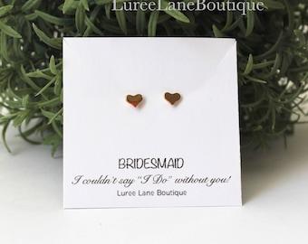 Heart earrings/Bridesmaid jewelry/Bridesmaid earrings/Heart stud earrings/Heart jewelry/Bridesmaid gift/Small stud earrings/ Earrings