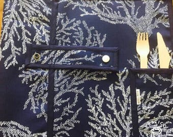 READY/placemat for lunch / doily for lunch / unisex gift / unisex gift / Navy / Dark blue