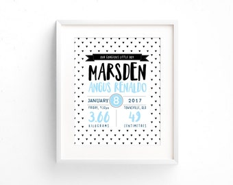 Birth Announcement Wall Art | Birth Details Print | Personalized Birth Announcement | New Baby Gift | Baptism Gift | Nursery Decor