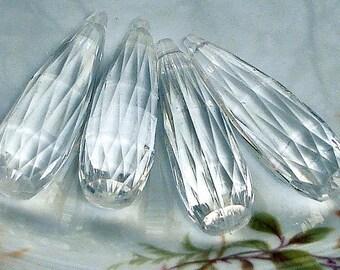 10 Vintage Lucite Faceted Crystal Briolettes