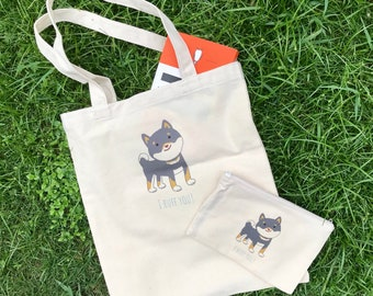 Shiba inu bag and pouch set (I Ruff You)
