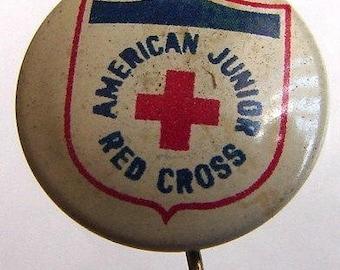 RED CROSS Enamel BUTTON American Junior Red Cross Badge Pin