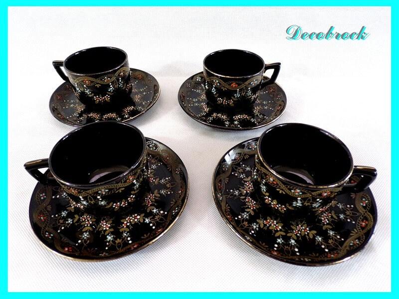tasses et soucoupes th ou caf porcelaine maill e noire. Black Bedroom Furniture Sets. Home Design Ideas