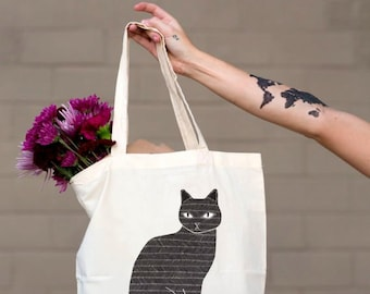 Black Cat Tote Bag, Animal Lover Tote Bag, Cat Bag, Cat Lady Tote Bag, Cat Lady Bag, Black Cat Bag, Gift For Her
