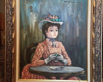 Vintage French Parisian Girl Oil Painting on Canvas M. Valmain Signed Original 1950's Wood Frame Matted