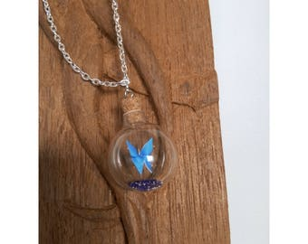 Butterfly origami in bottle mounted into a necklace, an original Valentine's day gift!