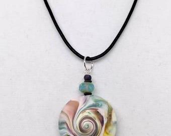 Karma Spiral Pendants - #275 Polymer Clay Pendant, Good Luck Charm, Good Karma, Handmade, One of kind, Unique Gift, Boho Jewelry