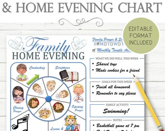 EDITABLE Family Council and Home Evening Chart - INSTANT DOWNLOAD