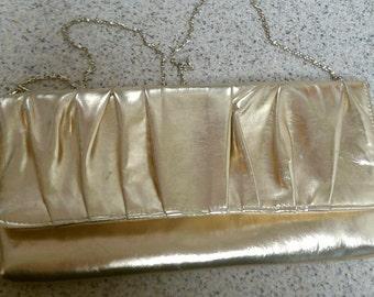 Gold glittery clutch purse with strap, Vintage gold purse, Mid century handbag