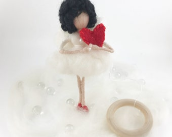 Needle felted black hair fairy doll with red heart,  Waldorf inspired eco-friendly  decor 6""
