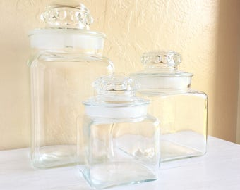 Set of 3 Antique Clear Glass Jars with Lids Frosted Ground Matching Set Large Medium and Small