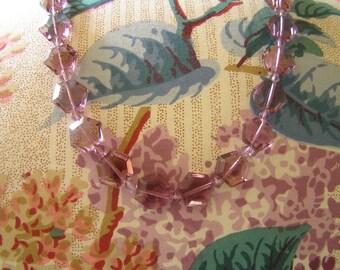 Lavender Crystal Necklace,Vintage Lavender Crystal Art Deco Necklace, Lavender Crystal Necklace w Sterling clasp, Art Deco Crystal Necklace