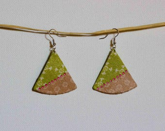 Earrings are made of green and pink with Rhinestones