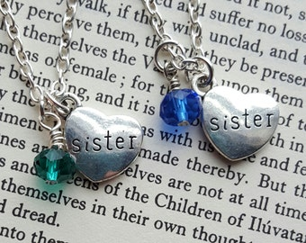 Sisters Birthstone Necklace Set