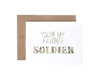 You're My Favorite Soldier - Military Greeting Card, Deployment/Basic Training/AIT/BCT Card, Army Card, Military Care Package Card