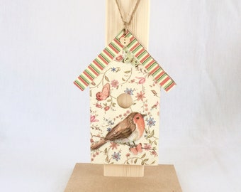 Decoupaged wooden bird house plaque with robin