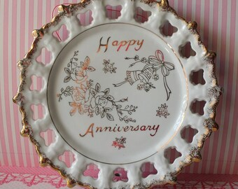 Vintage Happy Anniversary Plate