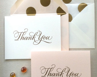 Hand Lettered Thank You Card (Pale Pink or White)