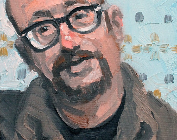 Self Portrait, oil on canvas panel, 9x12 inches by Kenney Mencher