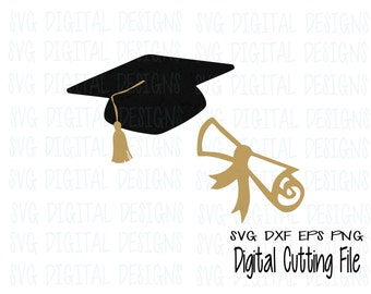 Graduation Svg, Graduation Cap & Diploma Svg Clipart - Graduation Cap Svg Cut files, Svg Dxf Eps Png Graduation files for Silhouette Cricut