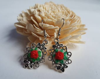 Embroidered earrings with roses, floral earrings, romantic earrings
