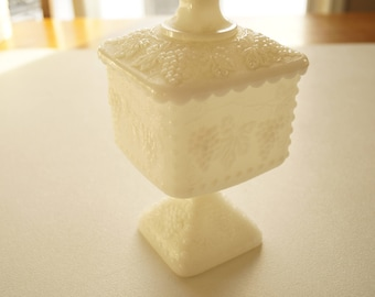 White Milk Glass Pedestal Compote in Grape Pattern with Lid, Vintage 1950s Candy Bowl