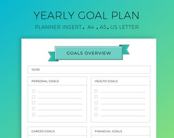 Goal Tracker, Goal Planning, Planner Insert, Success Planner, Goal Worksheet, A4, A5, US Letter, life goals, Circle of life,Printable Insert