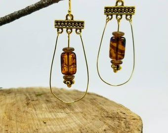 Gold and Czech Picasso beaded earrings.