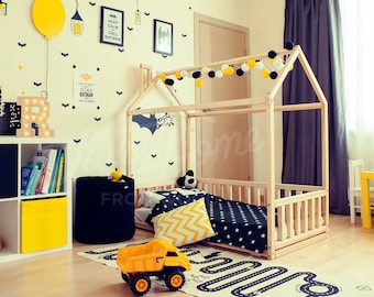 Toddler bed FULL/DOUBLE, children bed, unique bed, bed house, house bed, Montessori toy, bedroom crib, waldorf toy, play tent SLATS