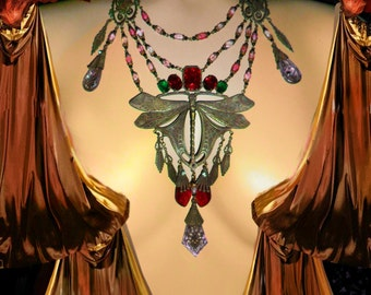 Dramatic Art Nouveau necklace HUGE chandelier drops Dragonfly centerpiece Rhinestones Vintage czech glass statement piece