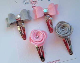 Girls clip set, Pink fringe clips, Grey hair clips, Felt baby bows, Felt flowers, Toddler hair bows, Cute hair clips