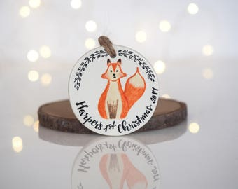 Baby's first Christmas ornament -Personalized Christmas decoration -Fox Christmas ornament -Personalized baby ornament -Baby's 1st Christmas