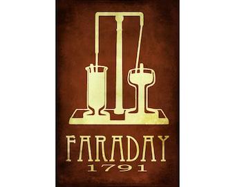 Michael Faraday 12x18 Science Art Print, Steampunk Rock Star Scientist Poster