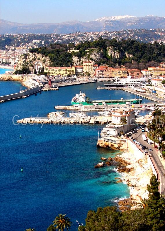 Seashore Photo Instant Download - Nice France Port Art Photography - Mediterranean Sea Travel Photography - South of France