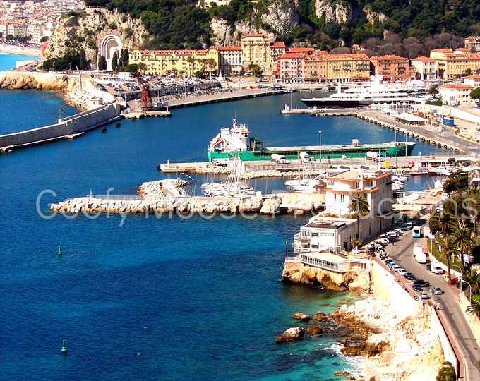 Seashore Photo Instant Download - Nice France Art Photography - Mediterranean Sea Travel Photography - South of France