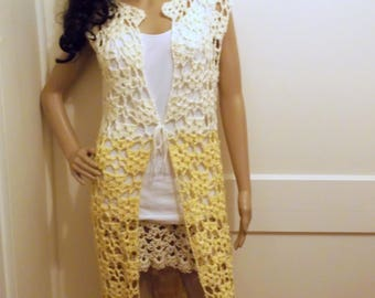 Hand Crochet Long Soft Yellow and Cream Cardigan, Crochet long Cardigan Vest, Sleeveless  Vest, Fall Long Vest