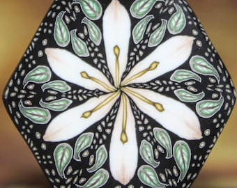 Polymer Clay Hexagon Lily Flower Cane -'Morgan' (31A)