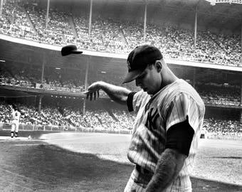 Mickey Mantle Famous Yankees photo, throwing hat / helmet, New York vintage baseball, black & white photo, photograph fine art print