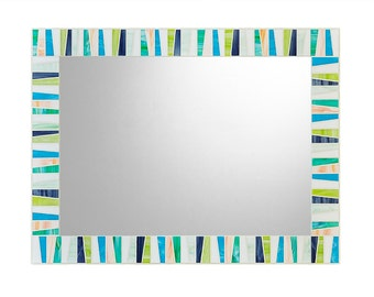 Colorful Wall Mirror | Stained Glass Mirror | Mosaic Mirror | White, Aqua, Mint, Purple, Lime, Light Orange