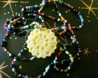 Yellow Star Necklace Beaded Carved Bone Pendant Fair Trade