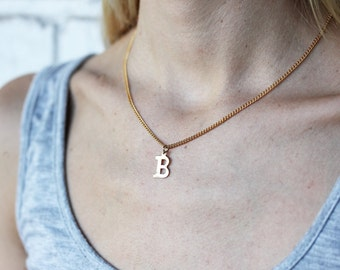Gold Letter Necklace, Initial Necklace, Gold Initial Necklace, Letter Necklace, Name Necklace, Monogram, A,C,D,E,F,G,H,J,K,L,N,P,R,S,T,W