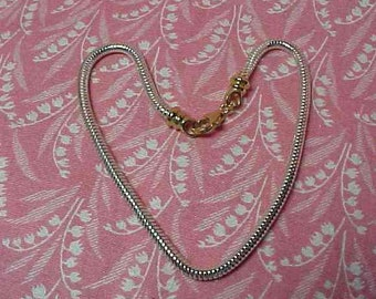 925 Sterling Snake Chain 9 inch Bracelet with GP Clasp